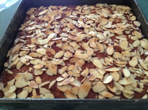 Be sure to watch it under the broiler! Almonds go from yum to burnt fairly quick.