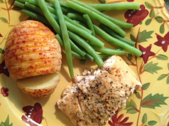 An easy salmon recipe seasoned with Lemon Pepper Mrs. Dash.