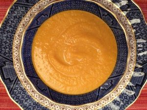 Delicious carrots, green apples and a mild curry in a blended soup that's sure to please