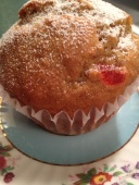 Cherries, bananas and limes meet in this fantastic muffin