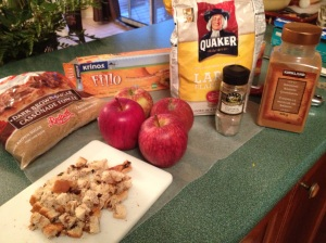 Adding the little cubes of raisin bread absorbs excess liquid from the apples and adds more cinnamon flavour