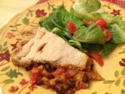 A delicious high-fibre black bean and peppers pie that makes a hearty dinner with a mixed green salad