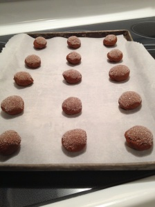 Lined up, these cookies are ready for a 10 minute bake in the oven.