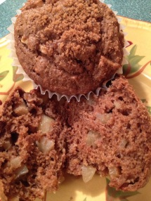 Chunks of apple, whole wheat and brown sugar mixed with cinnamon are in these delicious muffins