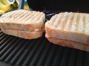 Turkey brie sandwiches on the indoor grill