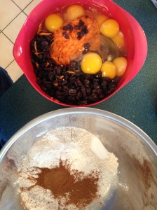 The wet and dry ingredients are ready for mixing