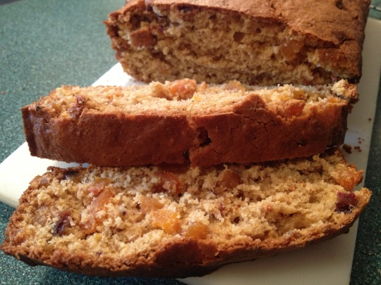 A delicious fragrant  loaf loaded with apricots, dates and orange juice and rind.