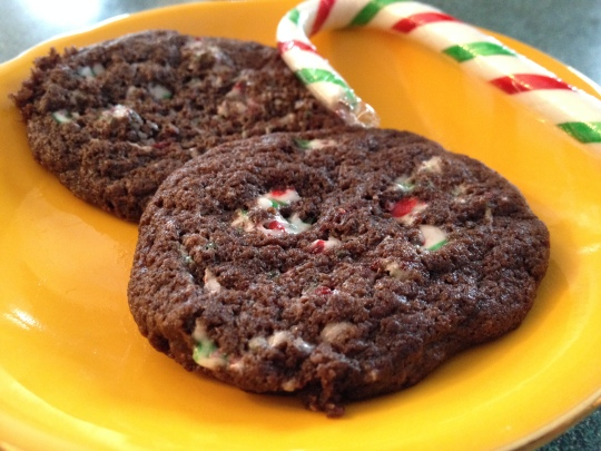 Take cocoa, chocolate chips and team them up with smashed candy canes for this amazing and festive cookie!