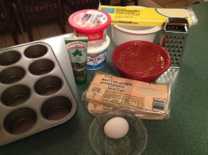 I use a non-stick muffin pan but make sure to coat it with a thin layer of olive oil to make sure the lasagnes pop out.