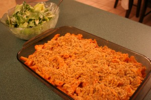 The casserole is now out of the oven and ready for eating with a crisp salad