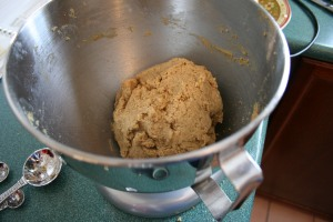 The ball of dough is mixed and ready for chilling.