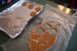 I divided the chilled dough into three sections and rolled them out.  Re-roll the scraps until all is used.