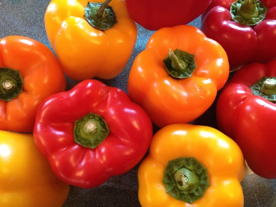 A sale on colourful peppers just begged for a recipe to feature their gorgeous colours