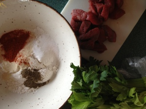 Mix the flour with the spices and seasonings and either toss the meat into the bowl with it, or use a large ziplock bag