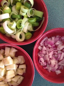 Diced apples, leeks and onions are joined with chicken and curry cream