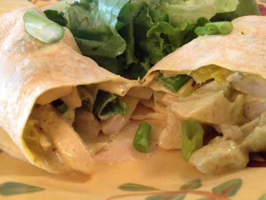 Chicken, creamy curry, leeks, green apples and more combine in this gorgeous crepe filling.